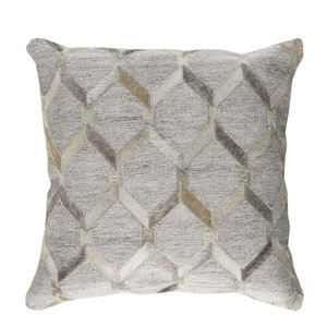 Lattice Hide Pillow - MOD-003 18 x 18 inches Cowhide, Linen
