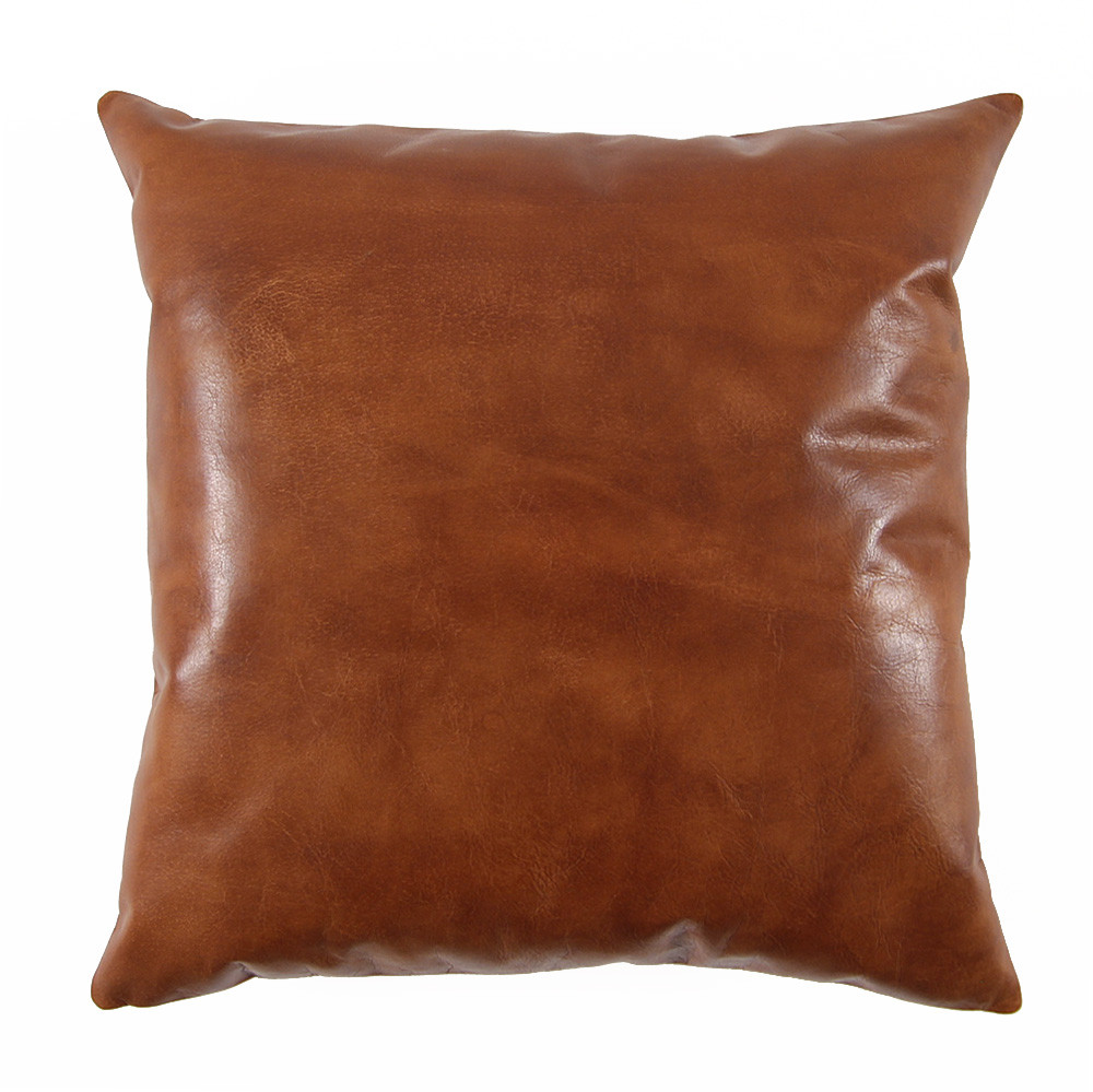 Saddle Brown Leather Pillow 20 x 20 inches