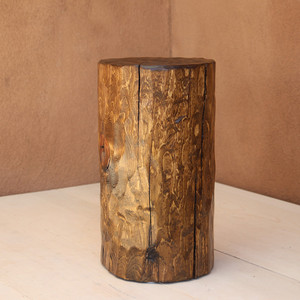Santa Fe Solid Pine Log 12 dia x 20 H inches Light Walnut Finish