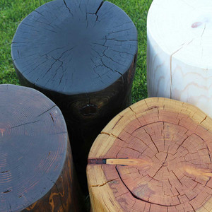 Pino Grande Log Tables Coffee Brown, Midnight Black, Natural and White Wash Finish