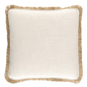 Lucia Fringe Pillow 18 x 18 inches Linen, Viscose White