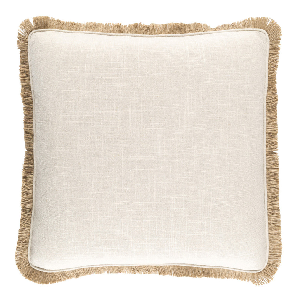 Lucia Fringe Pillow - ELY-001 18 x 18 inches Linen, Viscose White