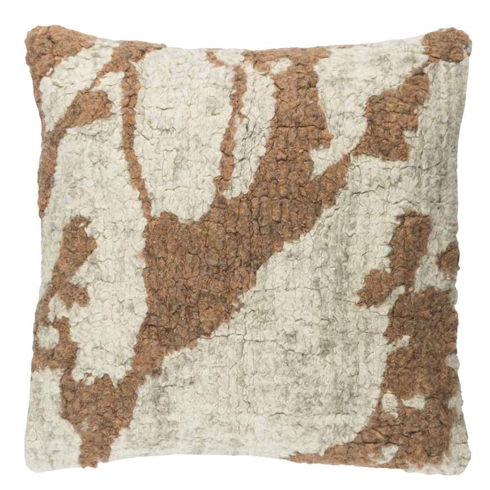 Pollock Tufted Wool Pillow - PML-004 20 x 20 inches Wool Brown