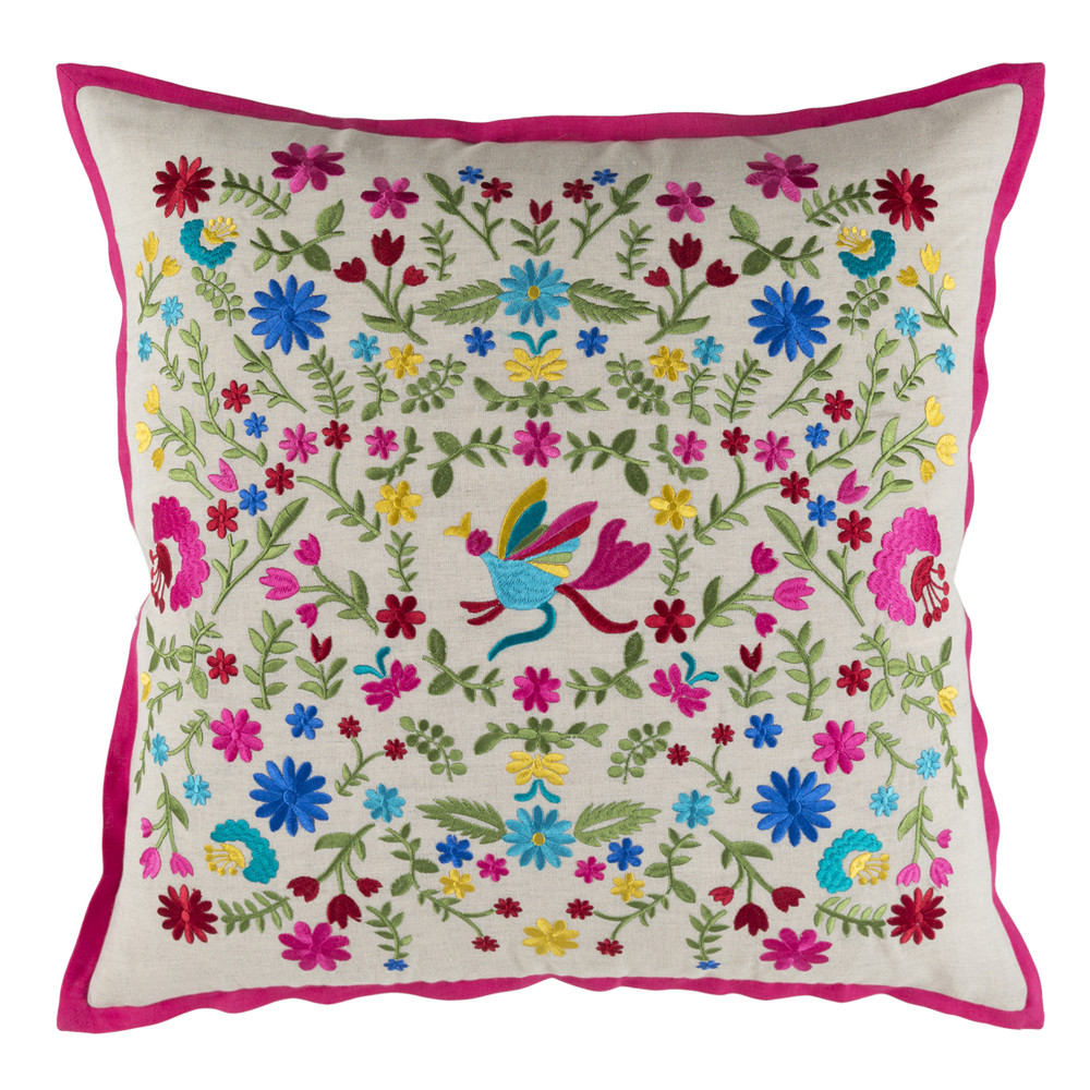 Secret Garden Embroidered Pillow - PVO-001 18 x 18 inches Linen, Cotton