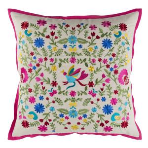 Secret Garden Embroidered Pillow - PVO-001 18 x 18 inches Linen, Cotton