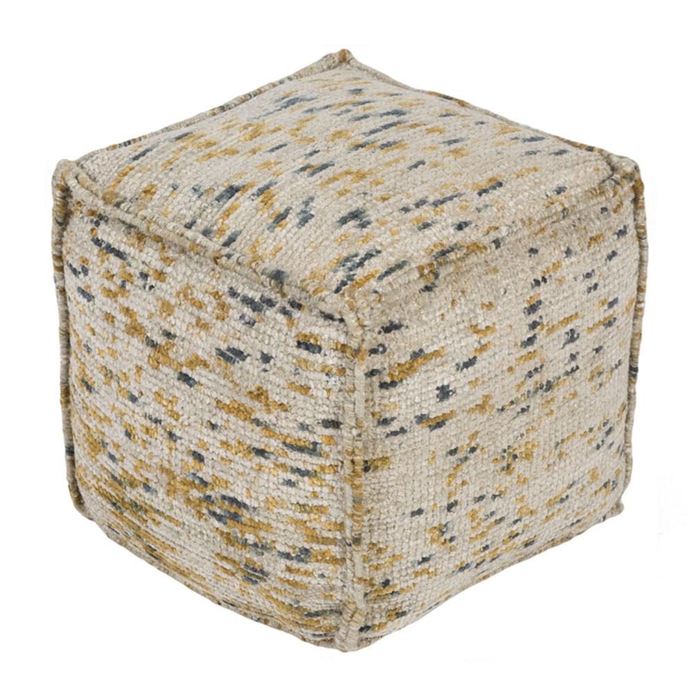 Signac Chenille Pouf - BZPF-001 18 x 18 x 18 H inches Cotton, Polyester