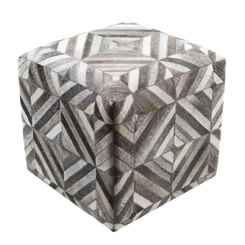Geometrik Hide Pouf - LCPF-001 18 x 18 x 18 H inches Cowhide
