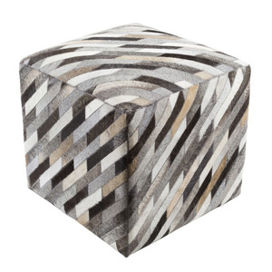 Diagonal Hide Pouf - LCPF-003 18 x 18 x 18 H inches Cowhide