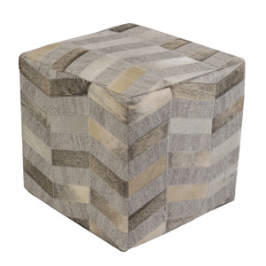Silver Lake Cowhide Pouf - MDPF-001 18 x 18 x 18 H inches Cowhide, Linen