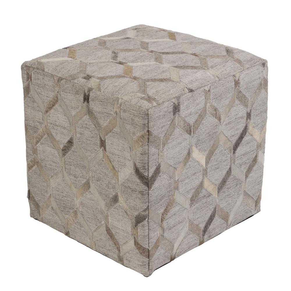 Lattice Hide Pouf - MDPF-003 18 x 18 x 18 H inches Cowhide, Linen