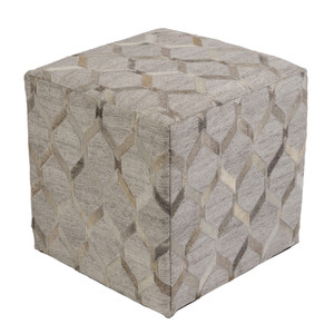 Lattice Hide Pouf - MDPF-003 18 x 18 x 18 H inches Cowhide, Linen