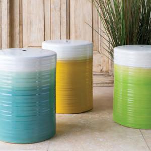 La Isla Glazed Ceramic Stool Table 13 x 13 x 18 H inches Ceramic