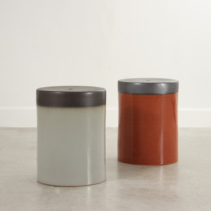 Prisma Glazed Ceramic Stool Table 13 x 13 x 18 H inches Ceramic  Light Grey, Burnt Orange