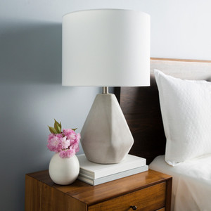 Devereux Concrete Table Lamp - SGN-100 14 dia x 24.25 H inches Concrete , Linen