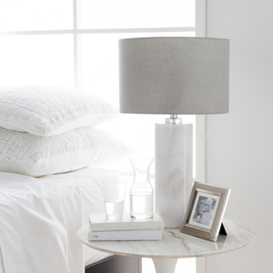Laffitte Marble Table Lamp - RND-100 15 dia x 25.5 H inches Marble, Linen