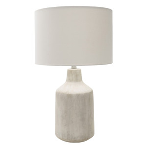 Shoreham Concrete Table Lamp 15 dia x 25 H inches Concrete, Linen Off-White