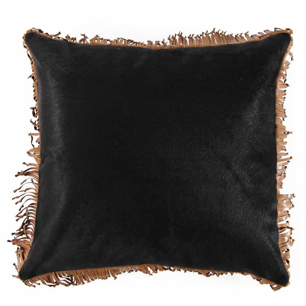 Mustang Cowhide Fringe Pillow 20 x 20 inches Cowhide, Leather Black, Saddle Brown