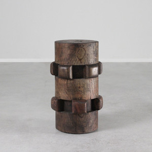 Sugar Cog Stool Table 12 dia x 20 H inches Dark Walnut Finish