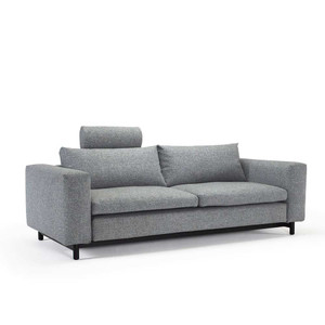 Magni Convertibel Sofa 99 x 43 x 29 H inches, Seat 16 H inches Granite Grey Polyester Dark stained wood legs
