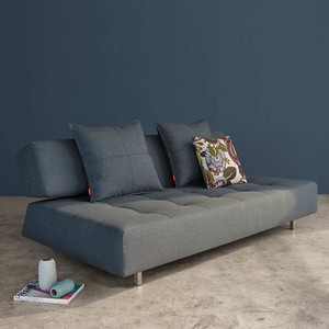 Long Horn Convertible Sofa 83 x 49 x 31 H inches, Seat 15 H inches Dark Grey polyester upholstery fabric