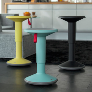 UPis1 Stools 14 diameter x 17.75 H inches adjusts up to 25 H inches Polypropylene - 50% new / 50% recycled