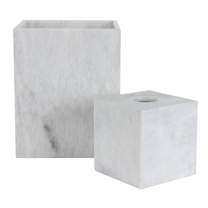 White Marble Waste Bin & Tissue Box 5.25 x 5.25 x 5.5 H inches - Tissue Box  8 x 8 x 10 H inches - Waste Bin Marble