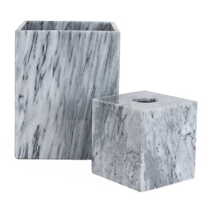 Grey Marble Waste Bin & Tissue Box 5.25 x 5.25 x 5.5 H inches - Tissue Box  8 x 8 x 10 H inches - Waste Bin Marble