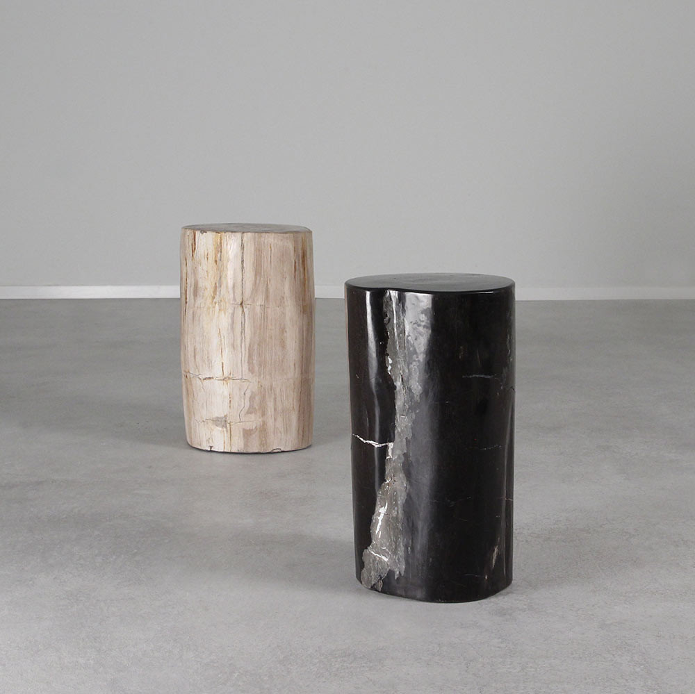 As Shown: Petrified Wood Log Table Dimensions: 10 x 12 x 18 H inches Color: Black Mix & Neutral Mix