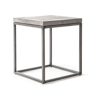 Perspective Concrete and Steel Side Table 13.75 x 13.75 x 15.75 H inches Concrete, Steel