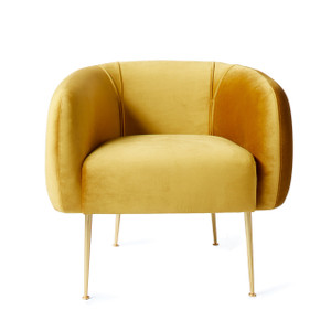 Turku Lounge Chair 33 x 30 x 27.5 H inches, 18 inch seat height Velour, Brass Finished Steel
