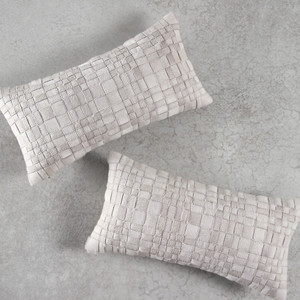 Laramie Woven Hide Pillow  10 x 18 inches Cowhide Off-White