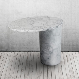 Girevol Swivel End Table 18 x 24 x 19.5 H inches White Uliano Marble