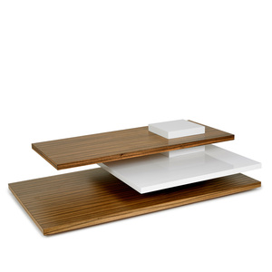 Planar Cocktail Table 60 x 36 x 16 H inches Dao Wood Veneer, White Lacquer