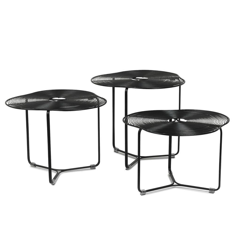 À Côté Coffee Tables 19.75 dia x 19 H inches, 19.75 dia x 16.5 H inches and 19.75 dia x 14.25 H inches Powder Coated Iron Wire Black