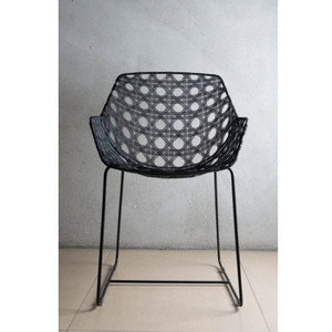 Octa Arm Chair 21 x 23 x 32.75 H inches, Seat 18.25 H inches Powder Coated Galvanized Iron Black