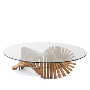 Remini Cocktail Table 51 dia x 16 H inches Lauan Wood, Glass