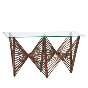 Geo Console Table 72 x 20 x 33 H inches Lauan Wood, Glass  Medium Brown