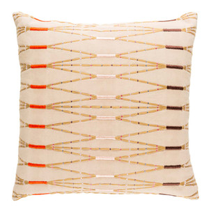 Tonga Embroidered Pillow - KIK-002 18 x 18 inches Cotton Beige