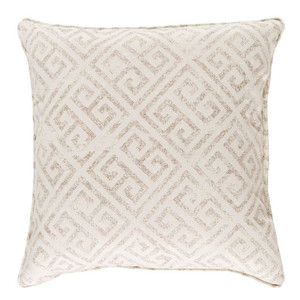 Ionia Greek Key Pillow 18 x 18 inches Cotton Taupe