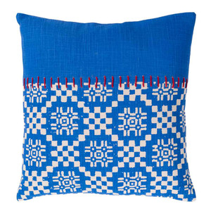 Friendly Islands Pillow - DEA-001 18 x 18 inches Cotton Blue