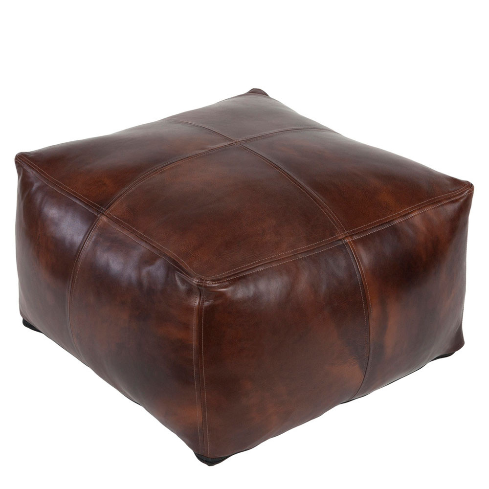 Eastwood Leather Pouf - SFPF-001 22 x 22 x 13 inches Leather Brown