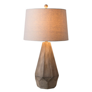 Villanova Table Lamp - DRY-101 16 dia x 29 H inches Ceramic Composite, Linen White Wash