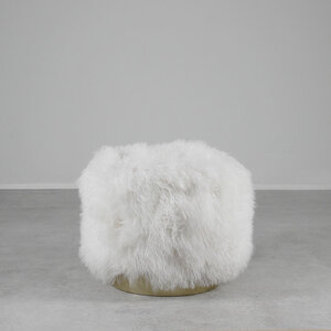 Deco Mongolian Stool 20 diameter x 18 H inches Mongolian Hide, Brass White