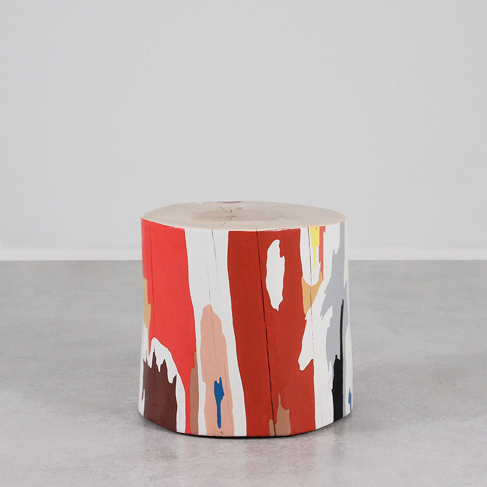 Lyrical Modern Hand Painted Log Table 18 dia x 18 H inches