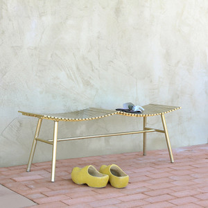 Pagoda Steel Bench 14 x 48 x 17 H inches Steel Brass