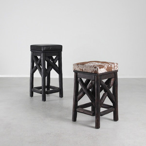 Wyoming Bar Stool  13 x 13 x 24 H inches and 13 x 13 x 29 H inches Espresso Brown Finish with Spotted Cowhide, Ebony Finish with Black Leather Sealed Topcoat