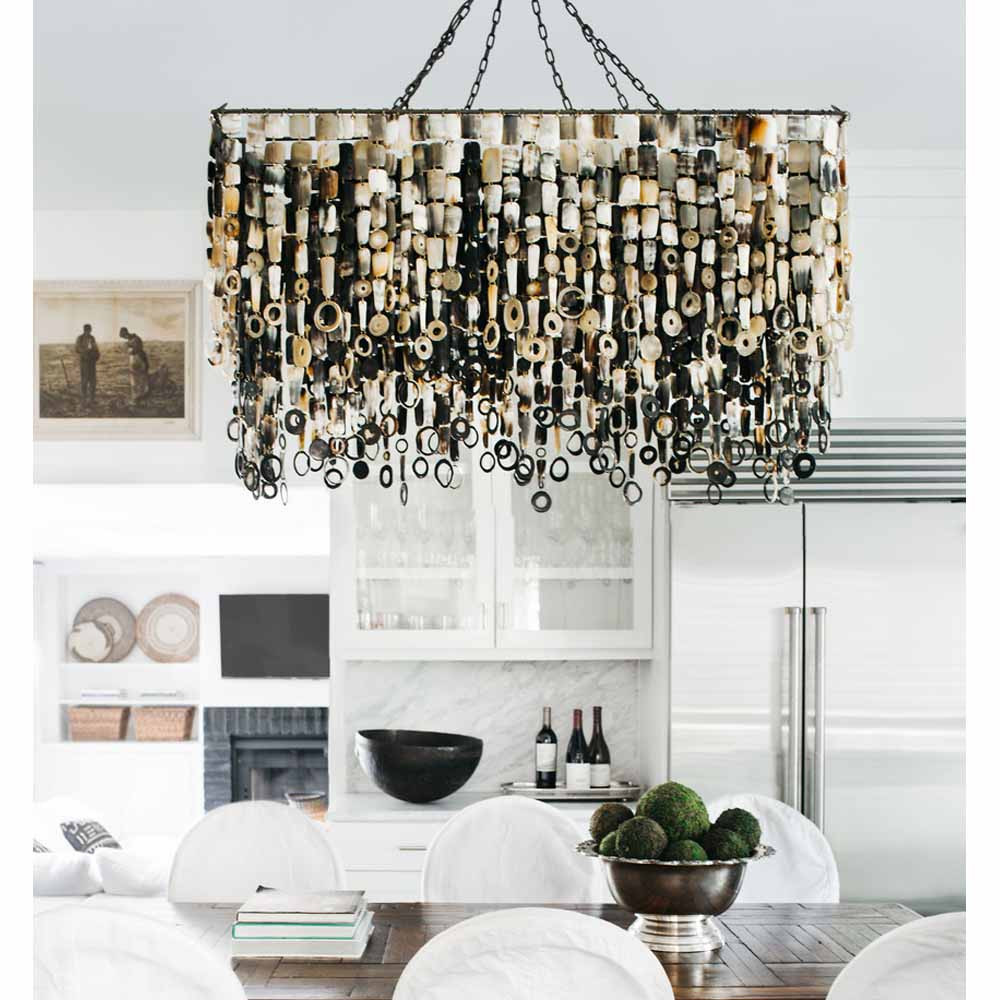 Nguni Horn Rectangular Chandelier - CLRect-O 48 x 24 x 28 H inches