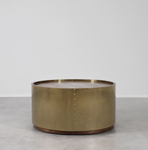 Ocean Liner Cocktail Table 36 dia x 18 H inches Brass, Wood
