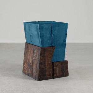 Siete Side Table  14.5 x 14.5 x 22 H inches Azure Blue / Dark Walnut Finish