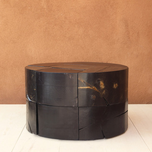 Retazos Solid Wood Cocktail Table 36 dia x 18 H inches Black Mix Finish